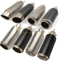 Laser Mark Logo Motorcycle Exhaust Escape Muffler Pipe SC Carbon Fiber Stainless Steel Racing Use 51mm