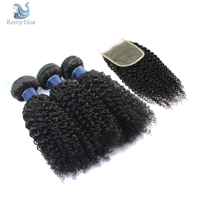 Remy Blue Natural Raw Indian Curly Hair 3 Bundles With Closure Human Hair Weave With Closure Remy Afro Kinky Curly Hair Bundles