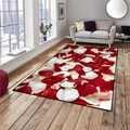 Alfombra de área lavable moderna decorativa para sala de estar de microfibra antideslizante con estampado 3d de amor Floral hojas rosas rojas y blancas mat