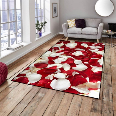 Else Red White Rose Leaves Floral Love 3d Pattern Print Non Slip Microfiber Living Room Decorative Modern Washable Area Rug Mat