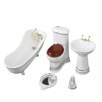 1/12 Miniature Dollhouse Children Doll House Bathroom Furniture 4PCS/Set Bathtub&Toilet&Mirror&Washing table Doll Accessories
