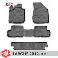 Pour Lada Largus 2012-2018 tapis de sol tapis antidérapants en polyuréthane protection contre la saleté accessoires de style de voiture intérieure