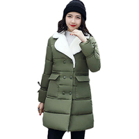 Зимняя Куртка Женщин Парки Полупальто женская Теплая Верхняя Одежда Тонкий Хлопок Проложенный Длинные Куртки Пальто