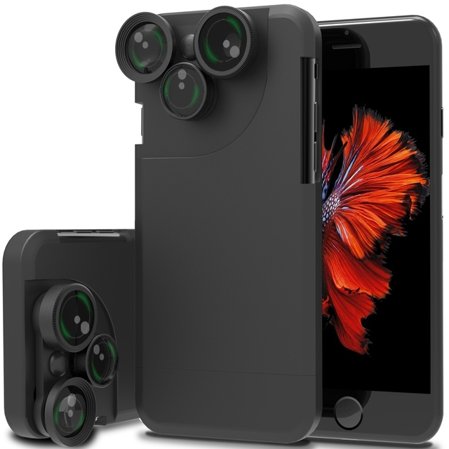 new concept 5d84a e1289 4 In 1 For iPhone 7 7 Plus Case Wide Angle Fish Eye Macro Telephoto 360  Degree Rotation Phone Camera Lens Kit Mobile Phone Cover-in Mobile Phone ...