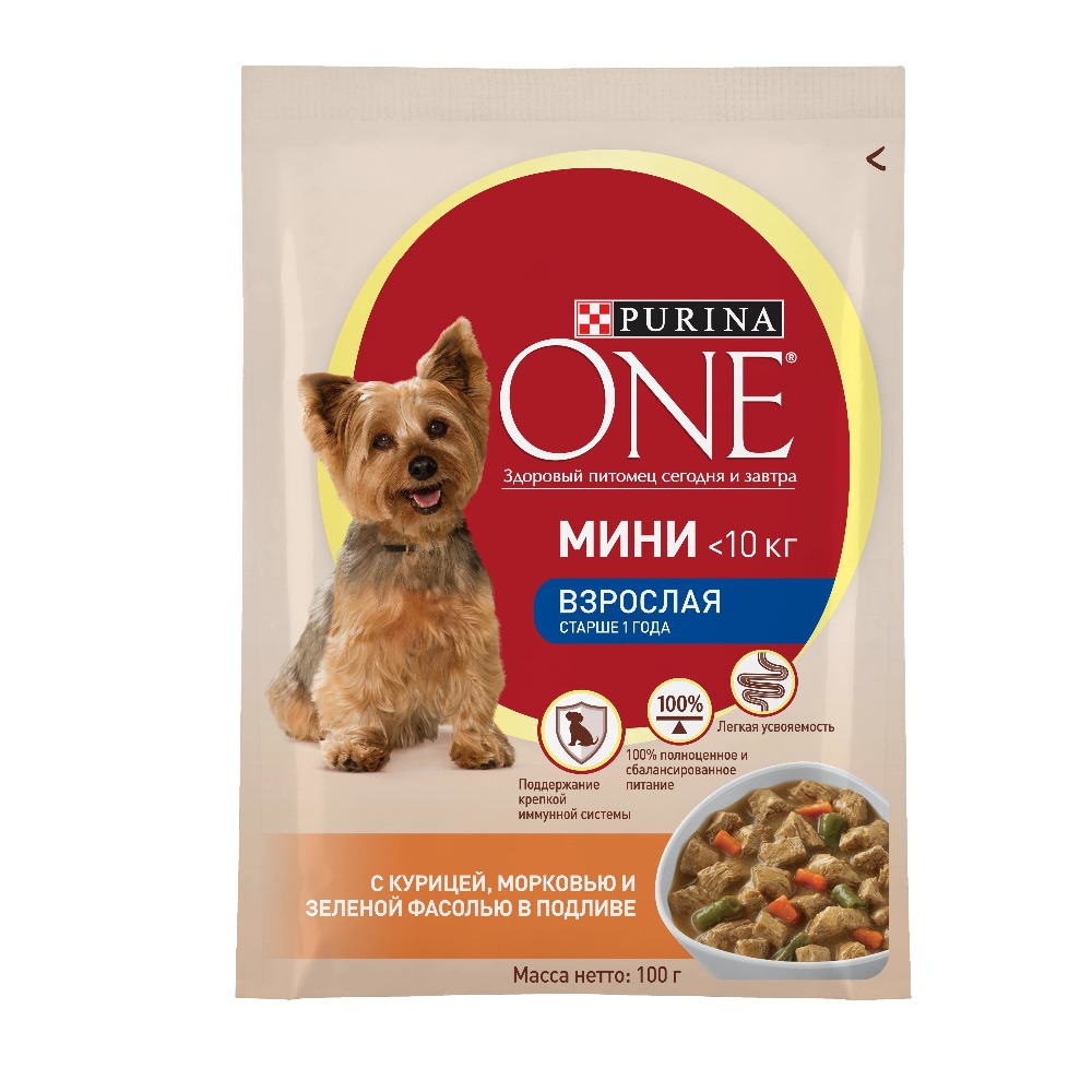 Wet food for small breeds of dogs Purina One Mini Adult with chicken, carrots and green beans in gravy, Pauch, 24x100 g. 23 inch green mahogany ukulele hawaiian guitar uke for beginner adult with bag strap tuner strings picks
