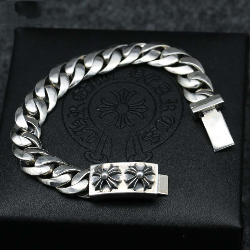S925 Sterling Silver Simple Cross Bracelet Male Thai Silver Personality Domineering Hand Whip Chain