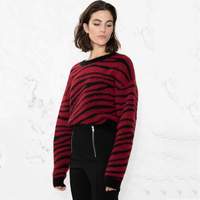 Autumn Women's Button Pullover Sweater Korean Zebra Stripe Pattern Pullover Sweater 2018 New Autumn Stripe Knitting Top Women's