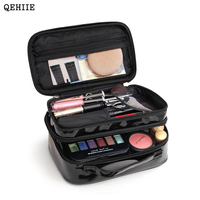 QEHIIE Korea Waterproof Portable Makeup Bags Double Layer Large Capacity Travel Organizer Beauty Bag Personal Sanitary