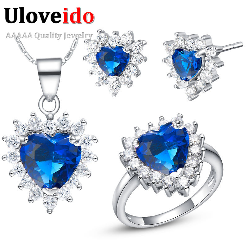 Uloveido Bridal Wedding Jewelry Sets Silver Earrings Rings Necklace Set Fashion Pink Woman Crystal Vintage Accessories T475