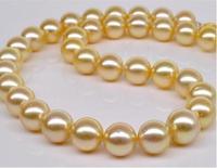Огромный 13 15 мм подлинных природных южного моря золото жемчужное ожерелье 18 серебро 925>>> девушки колье ожерелье подвеска Бесплатная достав