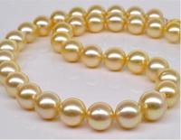 Huge 13 15mm genuine natural south seas gold pearl necklace 18 925 silver >>>girls choker necklace pendant Free shipping