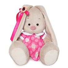 Мягкая игрушка Budi Basa Зайка Ми в розовом платье с белым воротничком, 18 см