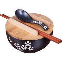 Japanese cuisine tableware sakura soup ramen noodle bowl box Korean vintage black ceramic bowl with a spoon and chopsticks cover