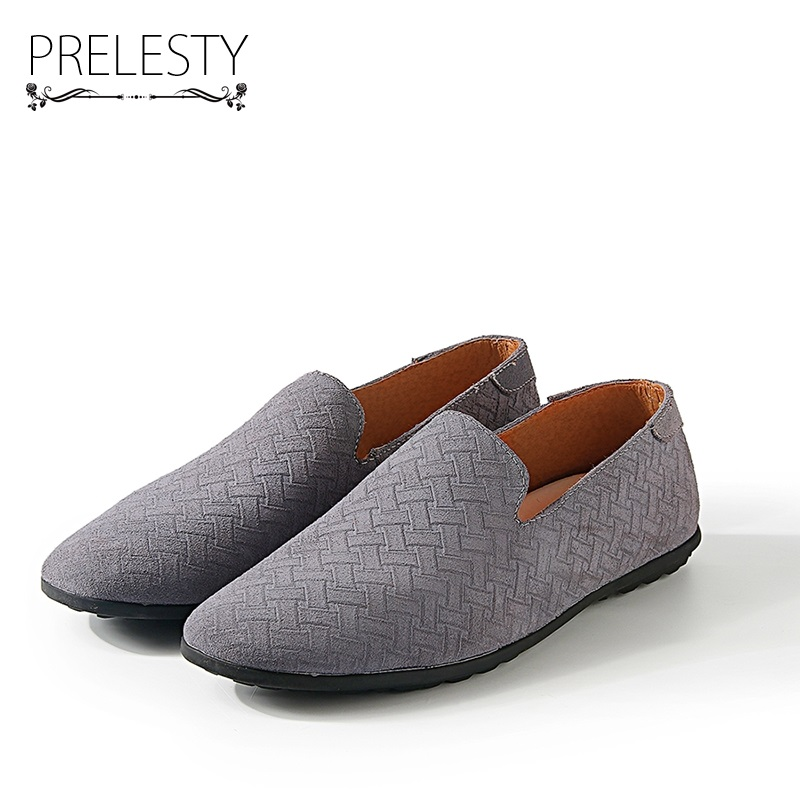 Prelesty Suede Leather Men Casual Loafers Slip-on Gentlemen Moccasins Soft Flat Driving Loafers Boat Shoes Dress Slipper spring high quality genuine leather dress shoes fashion men loafers slip on breathable driving shoes casual moccasins boat shoes