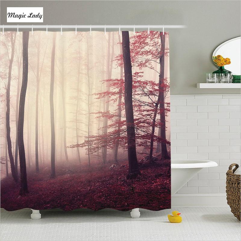 Shower curtain bathroom accessories decor woodland nature for Bathroom decor nature