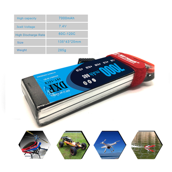 DXF Lipo Battery 2S 7.4V 7000mAh 60C 120C XT60 T Deans TRX EC5 RC Parts For  Drone Airplanes Cars Boat 4x4 1/8 1/10 3