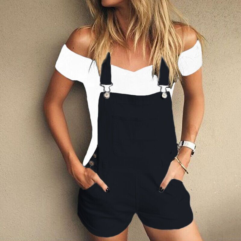 2017 Summer Rompers Womens Jumpsuit Casual Solid Playsuits Solid Spaghetti Strap Back Hollow Out Pockets Short