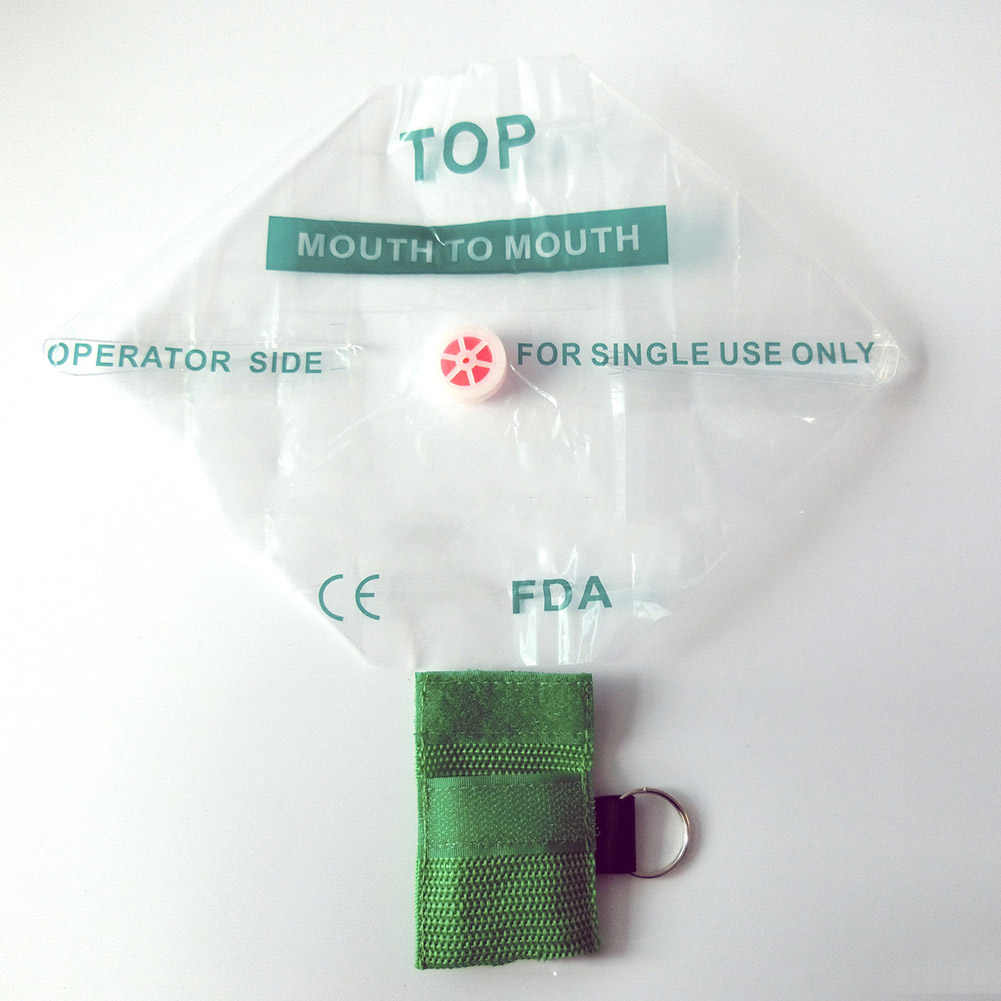 2018 new 1PCS Portable CPR Mask Keychain Safty Emergency Face mask First Aid Rescue Bag