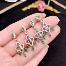KJJEAXCMY fine jewelry 925 sterling silver inlaid natural gemstone emerald lady earrings support detection new bg