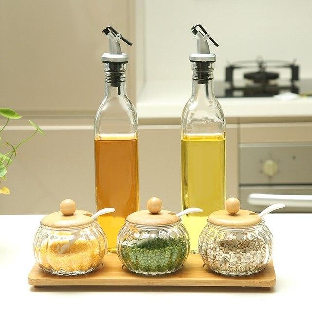 500ml Gl Olive Oil Vinegar Dispenser Gravy Boat Pourer Cooking Wine Condiment Storage Bottle Organizer Tools