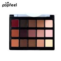 Popfeel fashion 15 Colors Concealer Brush Matte Pigment Eyeshadow Palette Cosmetic Makeup Eye Shadow for women 10.4 CM