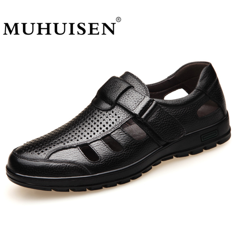 MUHUISEN High Quality Casual Shoes Men Genuine Leather Breathable Hollow Out Sandals Summer Men's Business Shoes