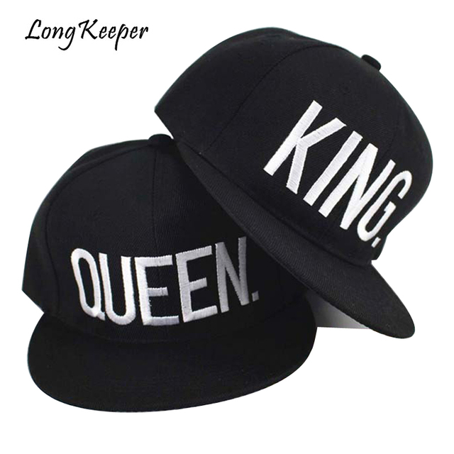 8c3543ae2759a Long Keeper KING QUEEN Embroidery Caps Men Women Hip Hop Hats Gift For  Girls Boys Adjustable Caps Wholesale Price 2 Pieces Lot
