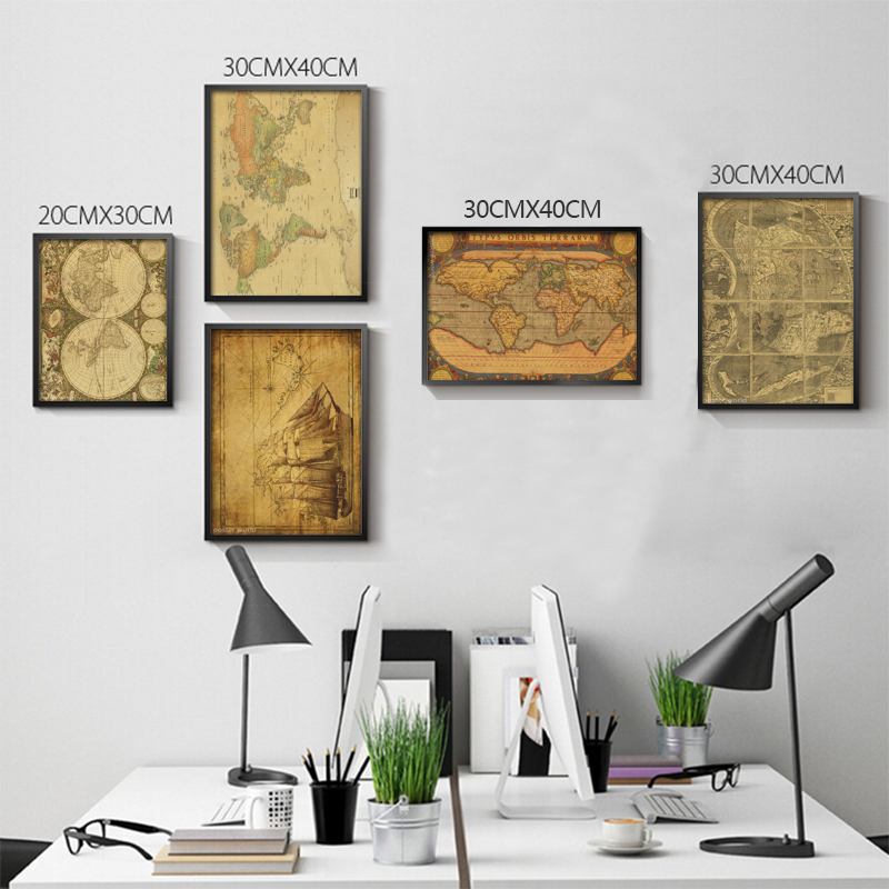 Vintage World Map Home Decoration Detailed Antique Poster Retro