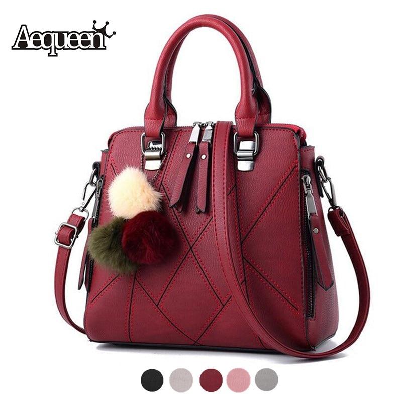 AEQUEEN Pompom Ball Handbag Women Shoulder Bag Patchwork Leather Crossbody Bags Lady Totes Plaid Handle Messenger Bolsa Feminine