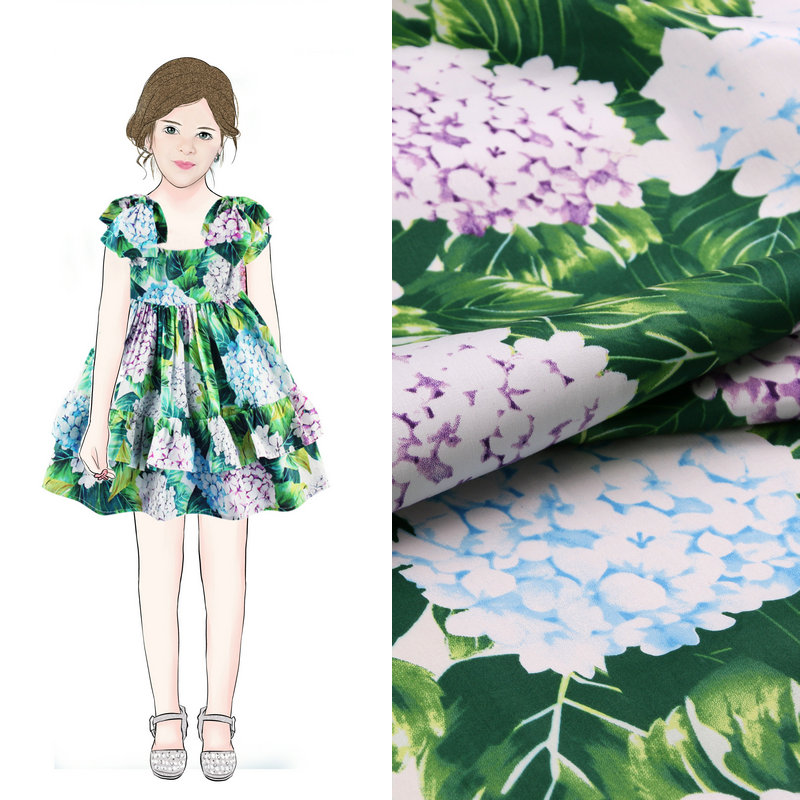Green color cotton fabric the hydrangea printed cotton for Children s cotton dress fabric