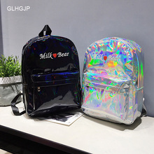 GLHGJP Fashion Hologram Laser Women Backpack Embroidery Letters Colorful Female Bolsa Leather Daypack Mochila Feminina