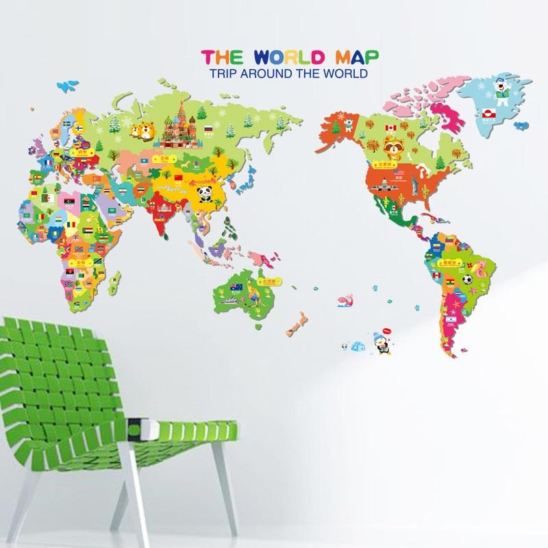 Mounted World Map.Wall Mounted Wholesale New Cartoon Animal World Map Children Room