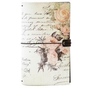 Image 4 - 2019 Yiwi Retro Travel Bind Planner czarny biały kwiat róży kreatywny notatnik podróżny 22x13cm