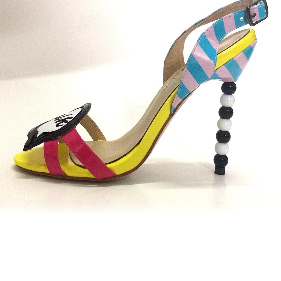 Mujer Toe Dulce Jawakye Altos Tacones Sandalias Peep Chicas Colorido QdCstrh