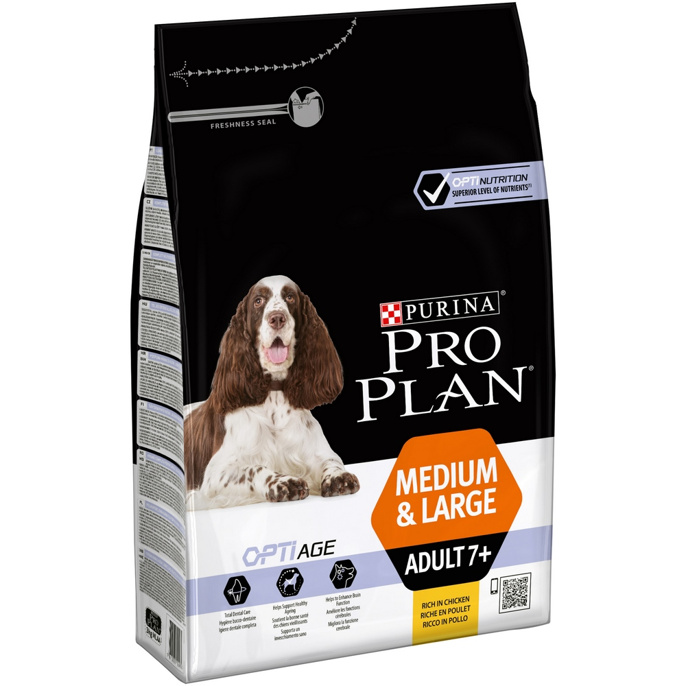 Dog Dry Food Pro Plan Medium & Large Adult 7+ for older dogs of medium and large breeds, Chicken, 3 kg dog dry food pro plan medium adult for adult dogs of medium breeds chicken 1 5 kg