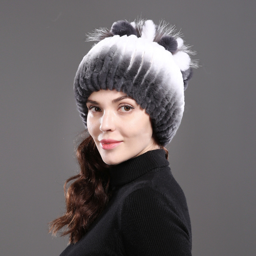 2018 Women's Genuine Rex Rabbit Fur Hats Winter Rex Rabbit Fur Beanies Striped Head Top Flower Fox Fur Warm Real Fur Knit Caps