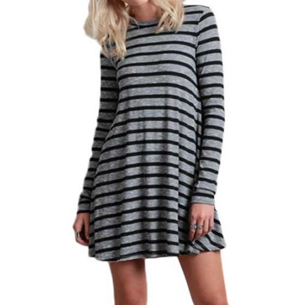 New Fashion Women Striped Printed Dress 2017 Autumn Casual Loose O Neck Batwing Sleeve Long Dress Vestidos Plus