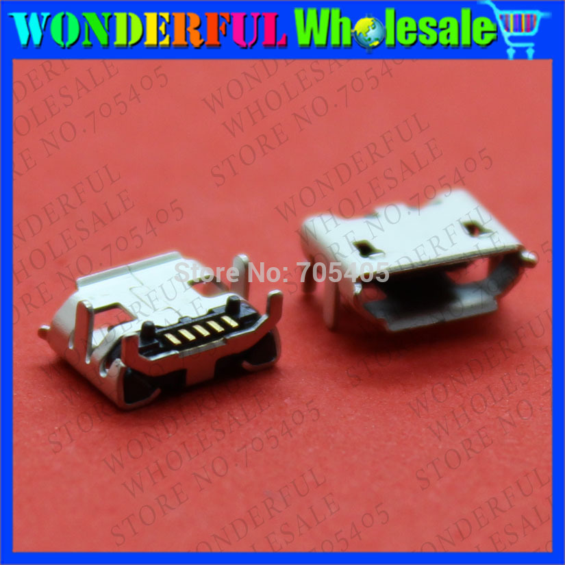 20pcs/lot 4 Feet DIP 5P SMD Micro USB Connector V8 Port Charge Socket Micro USB Jack Big Horn