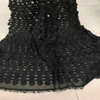 High Quality 5 Yards Black Evening Dress Embroidery Nigeria Lace 3d Circle Pattern Tulle Lace Fabric For Wedding
