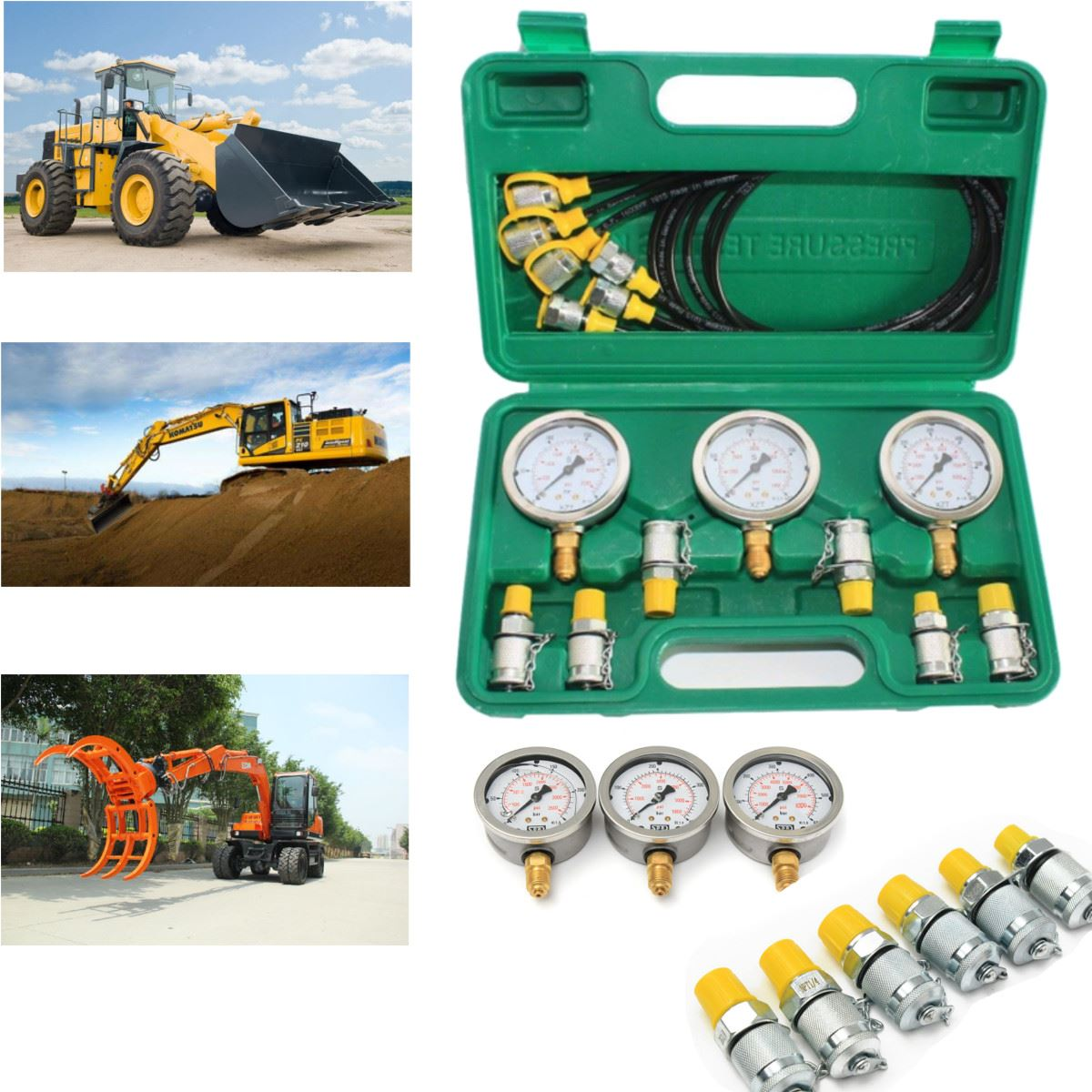 sp600 Excavator Hydraulic Pressure Test Kit Guage Tester Coupling for Excavator