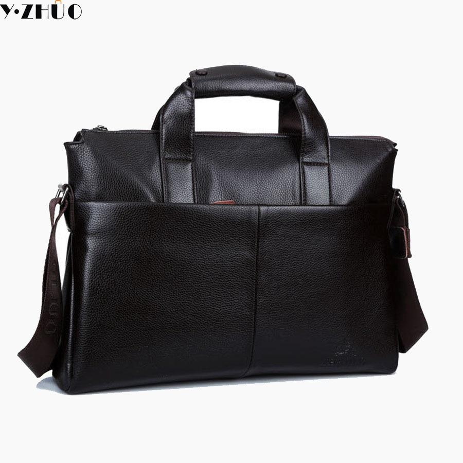все цены на men leather briefcase genuine leather handbags tote business men messenger bags brand men shoulder Laptop crossbody bags black