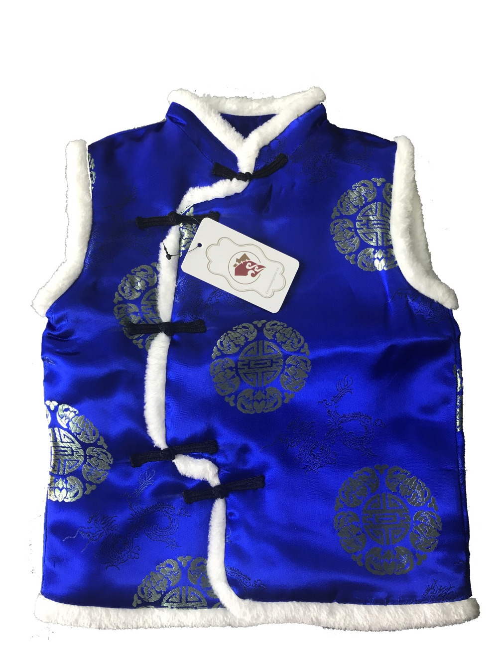 New Year Christmas Festival Chinese Traditional Tang Style Sleeveless Show Performance Winter Red/Blue Lovely Vests For Kids