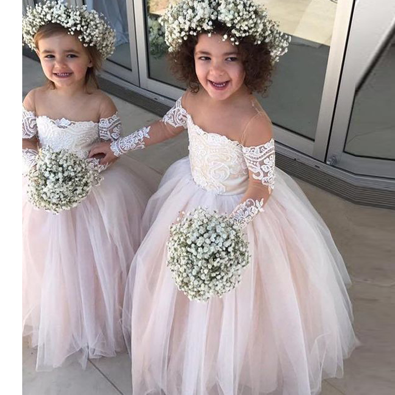 TaoHill Blush rose fleur fille robes pour les mariages manches longues princesse Tulle appliqué dentelle enfants première Communion robes robe