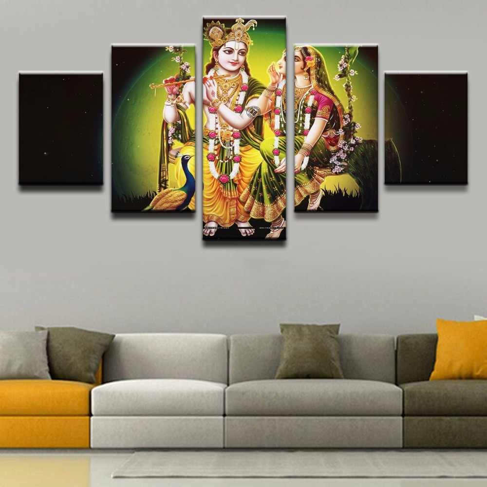 5 Panel India Myth Krishna And Radharan Decoration Modern Canvas Printed Pictures Wall Art Painting On Artwork Home Decor
