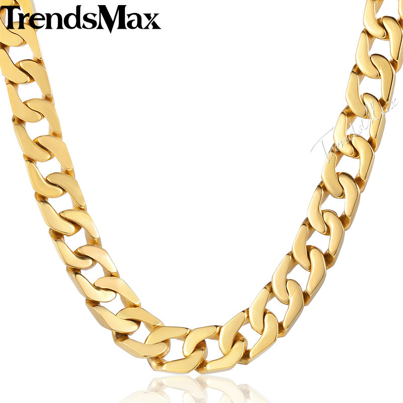 Trendsmax Customize ANY Length 13mm Wide Heavy Gold color Cut Curb Chain 316L Stainless Steel Necklace Mens Boys Chain HN61
