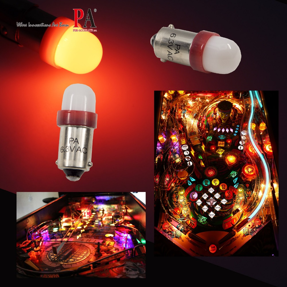 PA LED 20PCS x #1893 #44 #47 #1847 BA9S 2SMD 2835 LED Pinball Machine Dashboard Light Bulb 6.3V Frosted 8 Color