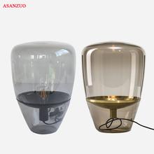 Nowoczesna jadalnia salon dym szary szklany stół lampy nocne oświetlenie Nordic balon szklany stół lampy lampy biurko tanie tanio ASANZUO ROHS CN (pochodzenie) Foyer Brązowy SZ-T-Smoke gray Amber Szkło iron Ue wtyczka 90-260 v Żarówki led COUNTRY