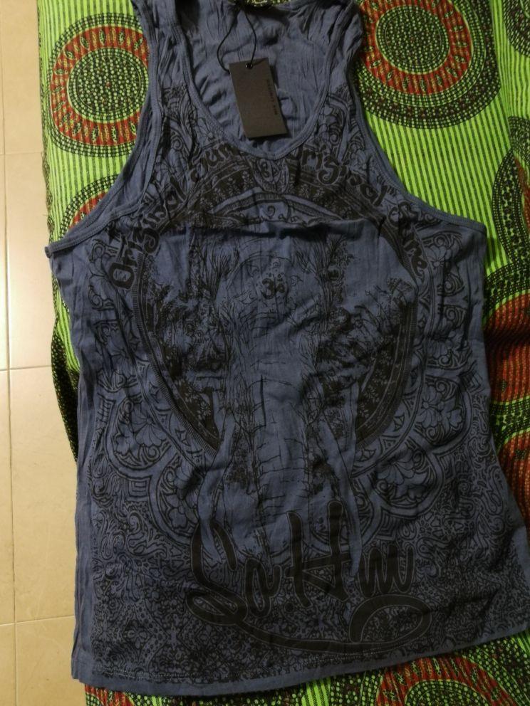 Grey Men Tank Top Casual Fitness Singlets Brand Mens Sleeveless Gasp Hip Hop Vest Elephant Print Cotton undershirt T680