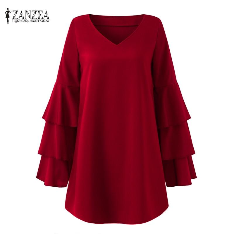 New Fashion ZANZEA Autumn Solid V Neck Long Bell Sleeve Women Party Loose Mini Dress Casual Beach Oversized Long Shirt Vestido