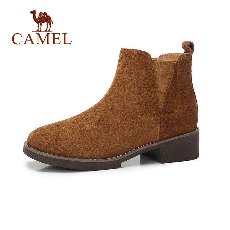 CAMEL Fashion Winter Warm Suede Leather Ankle Boots Women 2018 New Flat Thick Heel Shoes Woman